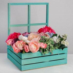 Кашпо флористическое с окном «Мятное», 35 х 30 х 42(12) см