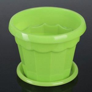 Горшок для цветов с поддоном «Эрика», 0,7 л, цвет зелёный