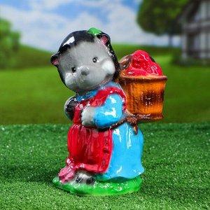 """Садовая фигура """"Ежиха с корзиной"""" глянец, разноцветная, 24 см, микс"""
