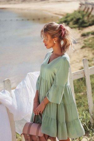 Ярусное платье-трапеция из вискозы