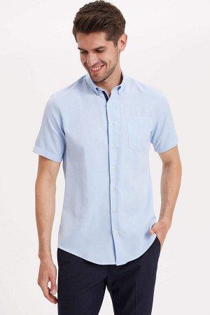 рубашка Размеры модели: рост: 1,89 грудь: 100 талия: 74 бедра: 97 Надет размер: M  Хлопок 55%, Полиэстер 45%