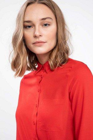 Красная рубашка из вискозы