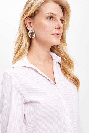 Рубашка в розово-белую полосочку