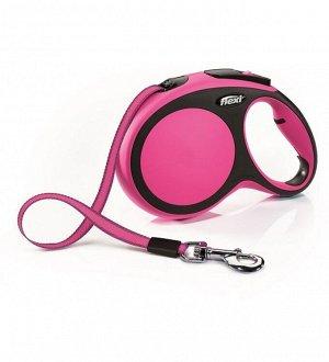 Flexi рулетка New Comfort L (до 50 кг) лента 8 м черный/розовый