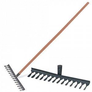 Грабли классические витые, 14 зубьев, ширина 42 см, деревянный черенок 120 см, КМ000876