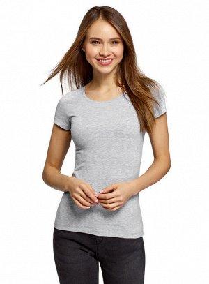 Приталенная базовая футболка с круглым вырезом Oodji