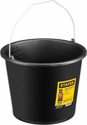 STAYER 12л STAYER 12л, ведро строительное пластмассовое, высокопрочное  Строительное ведро STAYER 06083-12_z01, предназначено для приготовления и переноски любых видов строительных и малярных смесей.