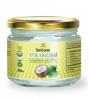 Крем кокосовый органика,  жирность 68%, 300мл, ст/б