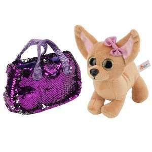 "CT181115-19R2 Мягкая игрушка собака чихуахуа 19см в сумочке из пайеток в пак. ТМ ""Мой питомец"" в кор.24шт"