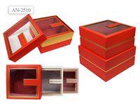 Набор подарочных коробок 2 шт КВАДРАТ с окном.(25.5x25.5x13cм, 23.5x23.5x12.2cм)