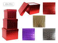 Набор подарочных коробок КВАДРАТ 3 шт.(20.5x20.5x16.5cм, 18x18x15.5cм, 15.5x15.5x14.5cм)
