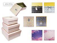 Набор подарочных коробок КВАДРАТ, 3шт (21,5х21,5х10)  (18х18х8,5)  (15х15х7,5)