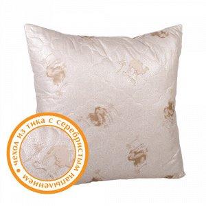 Подушка верблюжья шерсть  Стандарт  50х70, шары, в тике с серебристым напылением, полиэстер 100 %