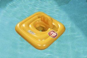 ⛺️Плот для плавания c сиденьем и спинкой трёхкамерный Swim Safe, ступень A, 69х69 см 🌊