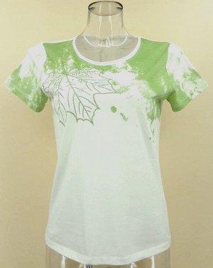 Блуза Материал: хлопок 97%, спандекс 3%  (трикотаж).  Спинка однотонная (цвет - белый), на полочке вышивка и печатный принт.