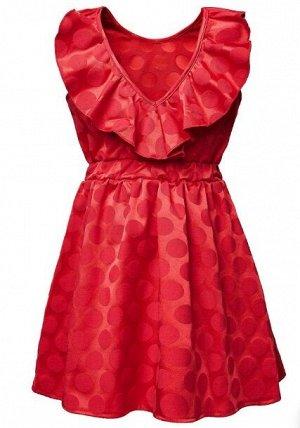 """Платье Состав: хлопок 70%, полиэстер 30%. Лёгкое платье красного цвета в крупный горох, модель без рукавов, с глубоким """"V""""- образным вырезом на спинке, украшенным воздушной рюшей. Область талии подчёр"""