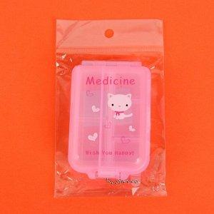 Таблетница с цепочкой, 6 секций, цвет МИКС