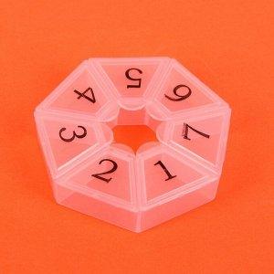 Таблетница «Цифры», 7 секций, цвет МИКС