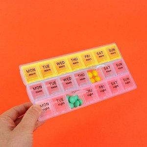 Таблетница-органайзер «Неделька», английские буквы, утро/день/ночь, 21 секция, разноцветный
