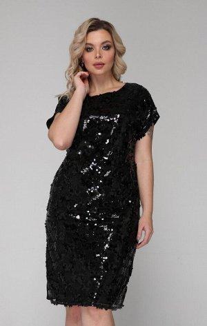 Платье 312 черный пайетки