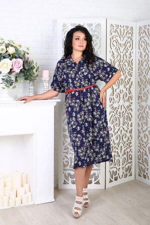Платье 061/1, синий в цветок