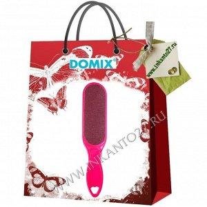 Domix Тёрка абразивная педикюрная двусторонняя с пластиковой ручкой. Цвет фуксия