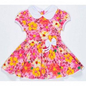 Платье 7028/28 (цветы на розовом, без бантика)