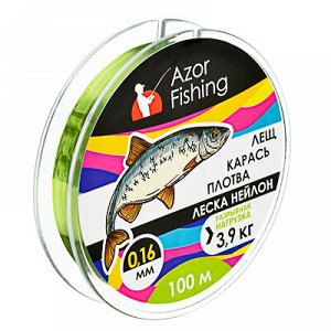 "AZOR FISHING Леска, нейлон, ""Карась, Плотва"" 100м, 0,16мм, зеленая, разрывная нагрузка 3,9 кг"