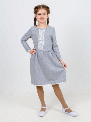 Платье с кружевом серый меланж