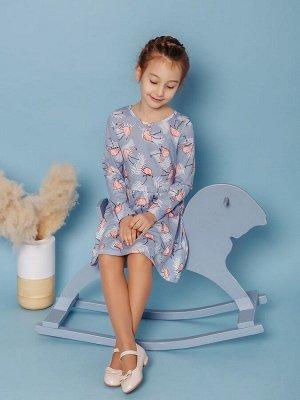 Платье Элла фламинго серые