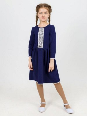 Платье с кружевом синее