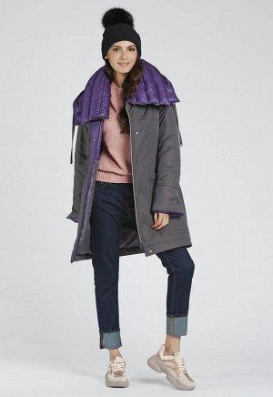 """Пальто """"Брента""""  т.серый (фиолет)"""