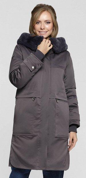 """Пальто """"Фиделия""""  серо-фиолетовый"""