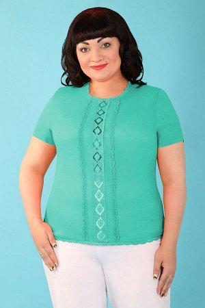 Зеленый Примечание: замеры длин соответствуют размеру 52. Длина блузы: 58 см. Длина рукава: 20 см. Подкладка: нет. Застежка: пуговицы сзади. Декор: нет. Состав: хлопок 65%, вискоза 30%, спандекс 5%.