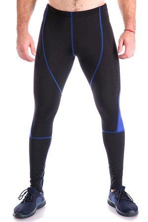 Тайтсы мужские G2 черные с синей сеткой