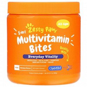 Zesty Paws, Multivitamin Bites, мультивитаминная добавка для собак 5 в 1, для повышения тонуса, для любого возраста, со вкусом курицы, 90 мягких жевательных таблеток, 360 г (12,7 унции)