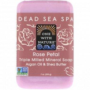 One with Nature, Кусковое мыло с трижды перемолотыми минералами, с запахом лепестков розы, 200 г
