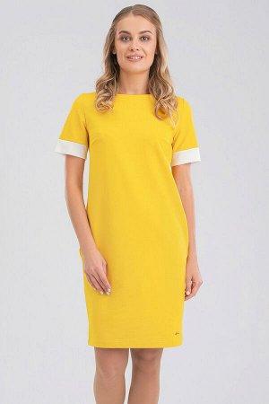 Желтый В нашем каталоге появились чудесные трикотажные платья в лучших фасонах и длине. Платье легкого овального силуэта элегантной длины с карманами в боковых швах, что делает это изделие максимально