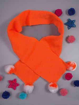 Шарф вязаный детский, четыре бубончика, оранжевый