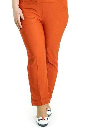 """Брюки-1837 Модель брюк: Дудочки; Материал: Искусственный шелк стрейч;   Фасон: Брюки Брюки 7/8 """"Лайт"""" терракотовые Однотонные брюки-стрейч отлично подойдут для повседневного гардероба. Модель отлично"""
