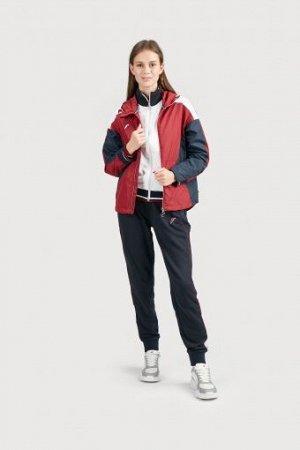 W02110G-CN201 Куртка ветрозащитная женская (бордовый/синий), M, шт