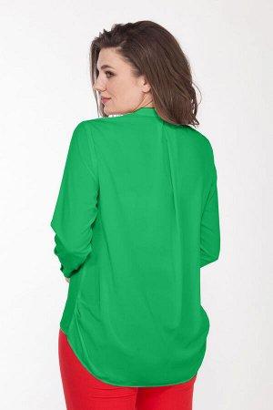 Блуза Блуза Bonna Image 241 зеленая  Состав: Вискоза-64%; ПЭ-32%; Спандекс-4%; Сезон: Лето Рост: 164  Стильная женская блузка, свободного силуэта. Горловина оформлена стойкой с пришивными стразами в