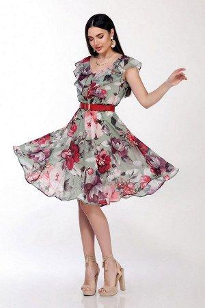 Платье Платье LaKona 1279-2 мята с малиной  Состав ткани: Вискоза-55%; ПЭ-45%;  Рост: 164 см.  Платье. Молодежное платье из прозрачного воздушного шифона, нижняя деталь выкроена по типу «солнце