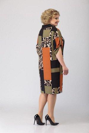 Платье Платье Liberta 530  Состав: ПЭ-33%; Хлопок-65%; Эластан-8%; Сезон: Лето Рост: 164  Нарядно-повседневное платье прямого силуэта. От горловины- (мягкая отворачивающаяся стойка) застрочены выточк