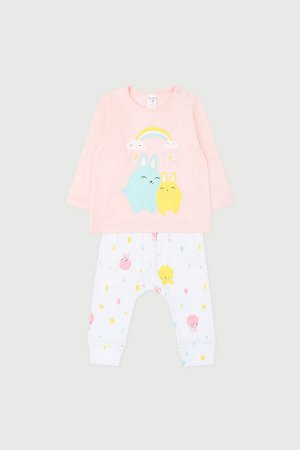 Комплект(Весна-Лето)+baby (светлый лосось, веселый дождик на белом)