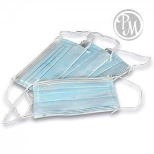 Маска защитная 3-х слойная для лица на резинке 50шт в упаковке