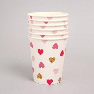 Набор бумажной посуды «С днём рождения, сердечки», 6 тарелок , 1 гирлянда , 6 стаканов, 6 колпаков