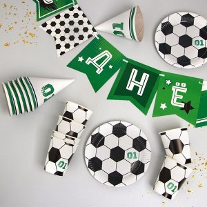 Набор бумажной посуды «С днём рождения, Футболист», 6 тарелок , 1 гирлянда , 6 стаканов, 6 колпаков