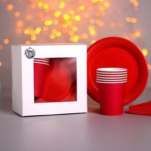 Набор бумажной посуды «Красный», 6 стаканов, 6 тарелок, 20 салфеток, скатерть