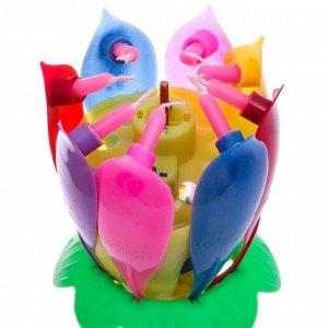 Свеча в торт музыкальная разноцветная